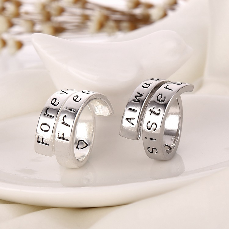 2015 New A Pair of Rings Forever Friends and Anyway Sisters Word Rings Charm Couple Ring For Best Friends Friendship Gift(China (Mainland))