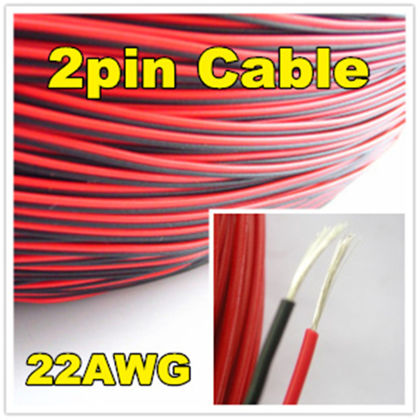 1 meter Electrical Wire Red Black Tinned Copper 2 Pin 22AWG insulated PVC Extension LED Strip Electronic Cable Wire DIY Connect<br><br>Aliexpress