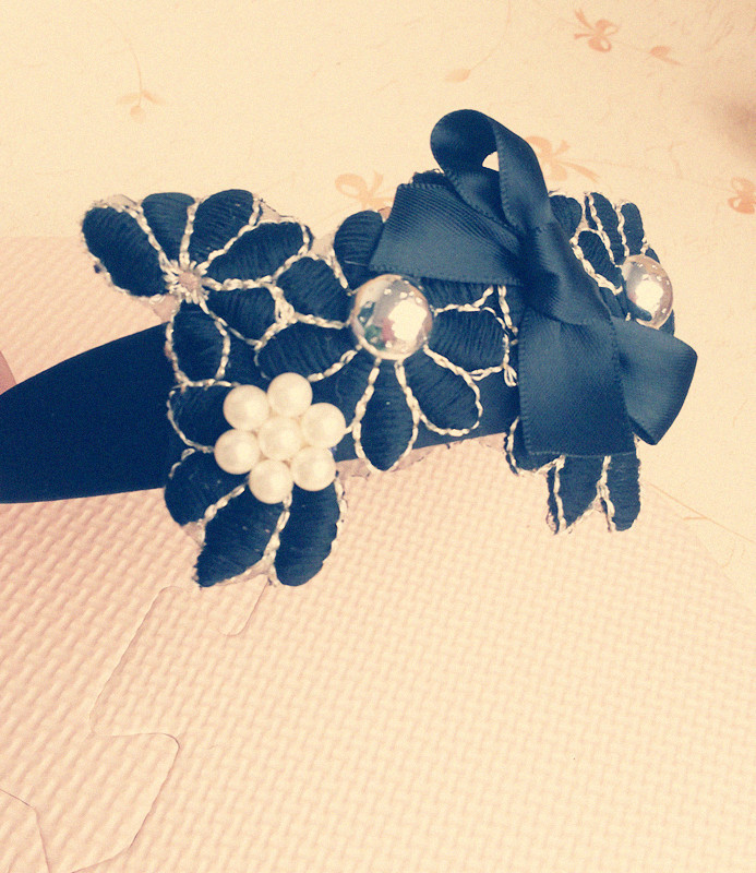 Exclusive spring models black lace elegant pearl flower hair hoop headband(China (Mainland))