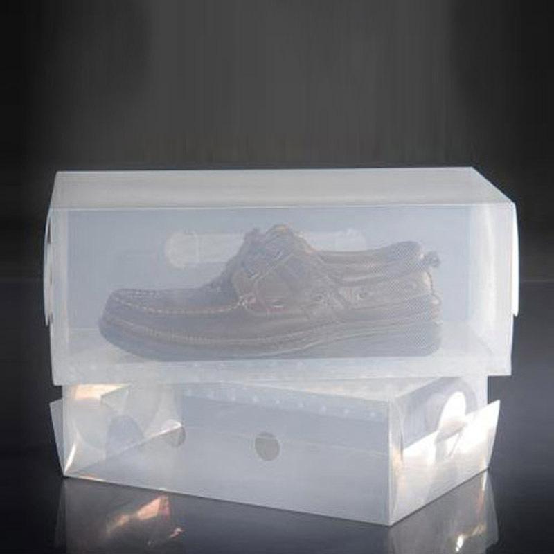 Men transparent shoebox mildew and dust DIY foldable storage box finishing men's shoes E6323(China (Mainland))