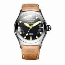 Récif tigre/RT Sport montres pour hommes en acier grand squelette cadran montres automatiques bracelet en cuir RGA704(China)