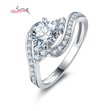 Gold Plated Infinity Love Ring Pure 925Silver Channel Set Twist Shank Bypass Sona Simulated Diamond Engagement Ring Bague Bijoux(China (Mainland))