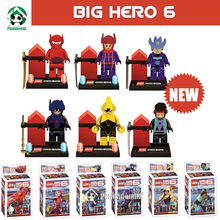 New Big Hero 6 Action Toys Figure Blocks Compatible with Lego Minifigures 6 pcs Figures Collection Model Building Toy Brinquedos