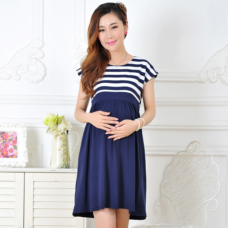 New Summer Maternity dress casual cotton maternity clothes plus size ladies stripe For Pregnant women dresses vestido amarelo(China (Mainland))