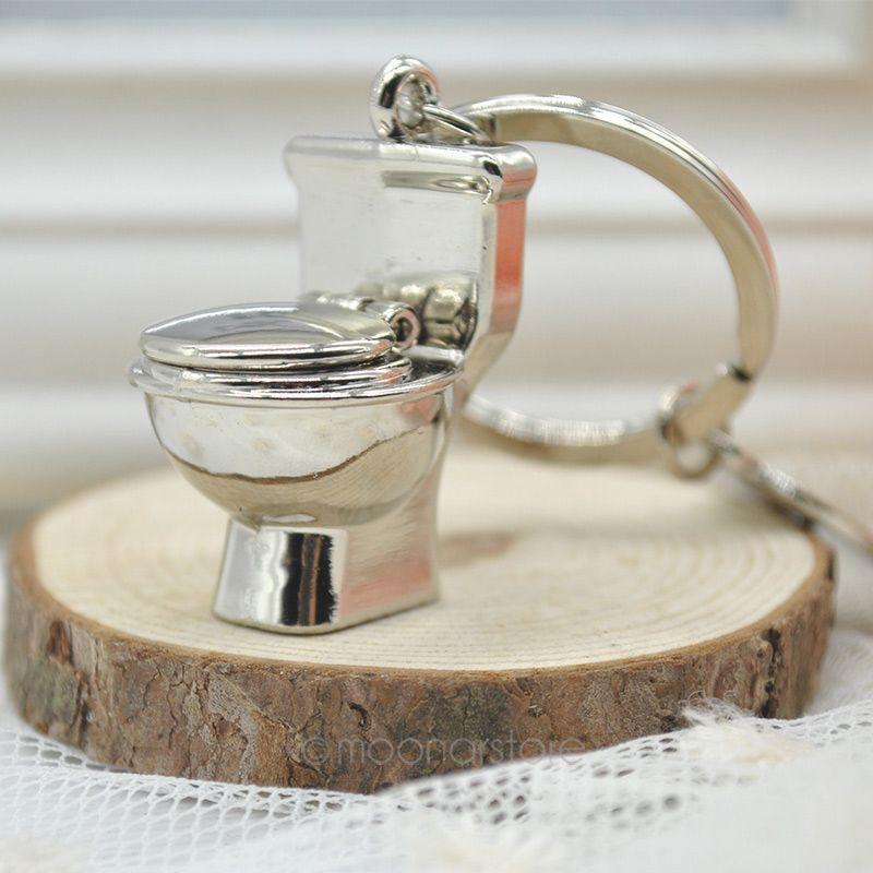 cute mini bathroom closestool key ring mini chain keychain cute creative