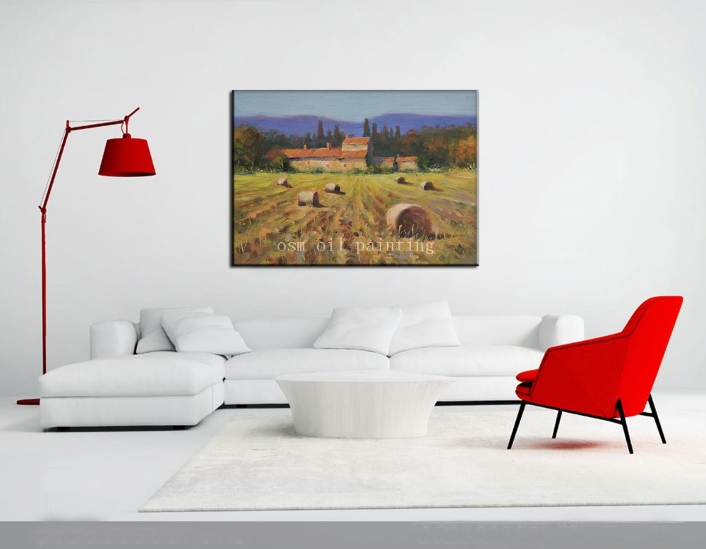 Handmade Abstract Wall Artwork Hang Canvas Picture Farm House Handpainting Tuscan Farm Landscape Countryside Knife Oil Paintings(China (Mainland))