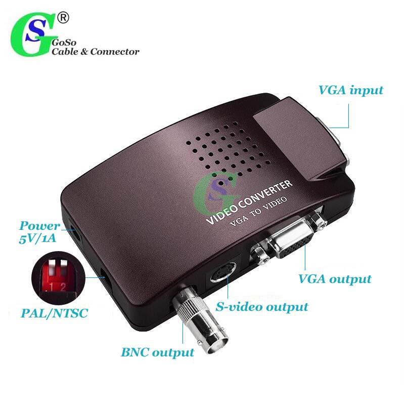 GoSo Video Converter, Computer VGA to BNC VGA S-video Box Video Monitor Host PC Mac Laptop Connected to TV AV Adapter 1103V(China (Mainland))