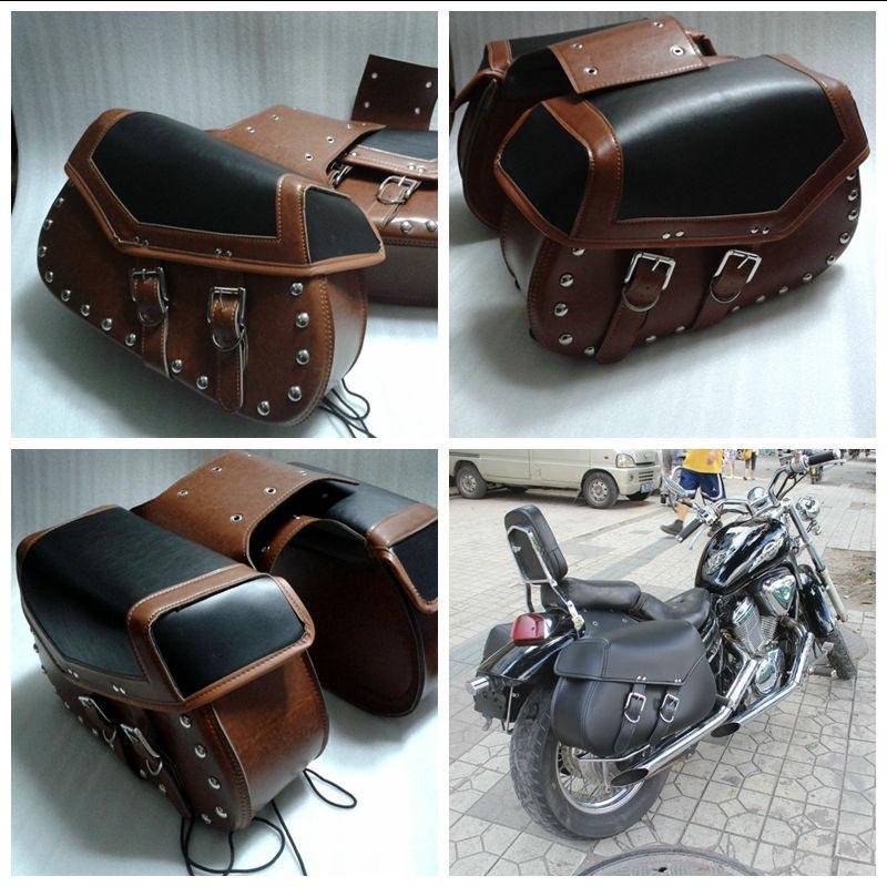 2015 NEW Studded Motorcycle Saddle Bags Leather Motorcycle/Motorbike Saddle Bag Tool(China (Mainland))