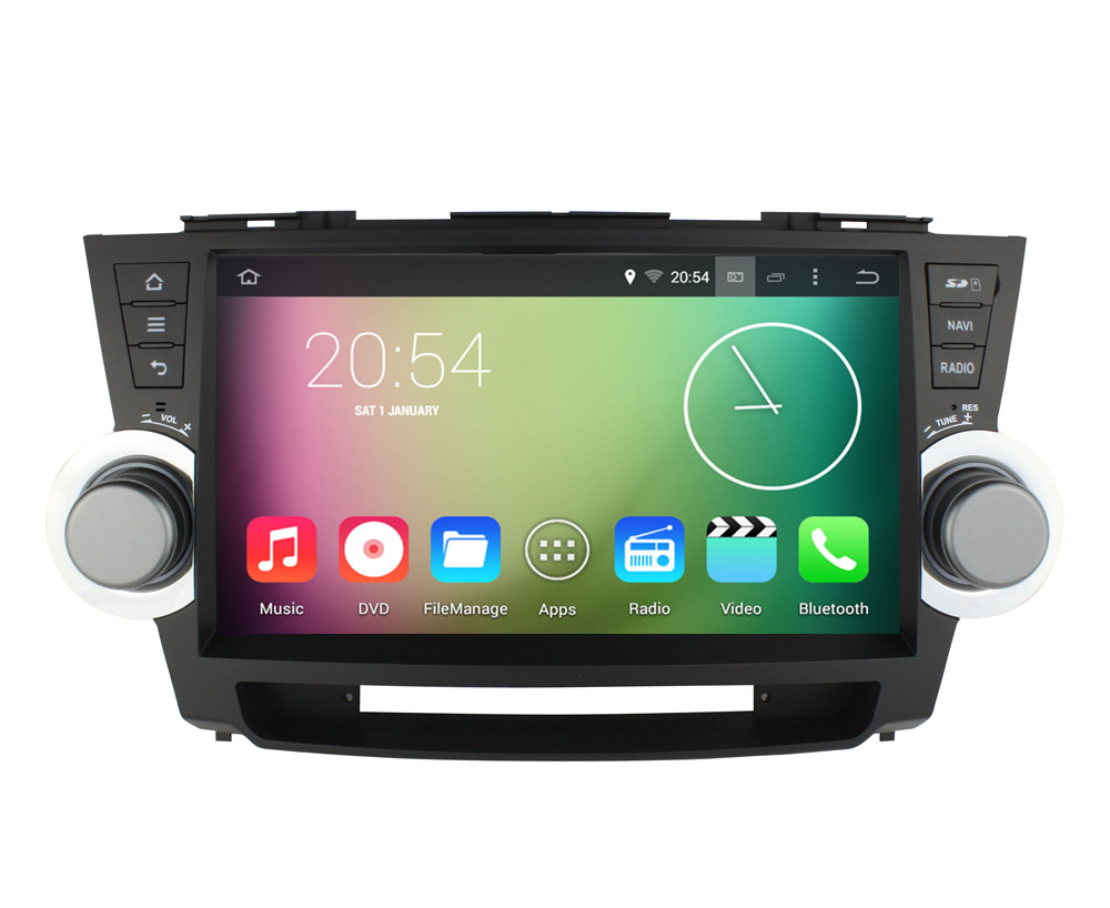 Android 4.4.4 HD 1024*600 Quad core 16GB 1.6GHZ Car DVD player For Toyota Highlander 2008 2009 2010 2011 2012 GPS Radio Stereo(China (Mainland))
