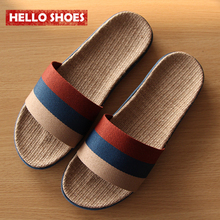 Men Women Home Slippers Flax Slippers Shoes Summer EVA Couple Shoes Striped Pattern House Shoes High Quality Shoes(China (Mainland))