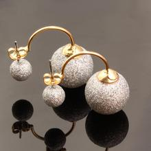 aros vintage earrings boucle d'oreille gold Earrings fine Jewelry Double Sided Earring Gold Plated Stud Earrings For Women E1887(China (Mainland))
