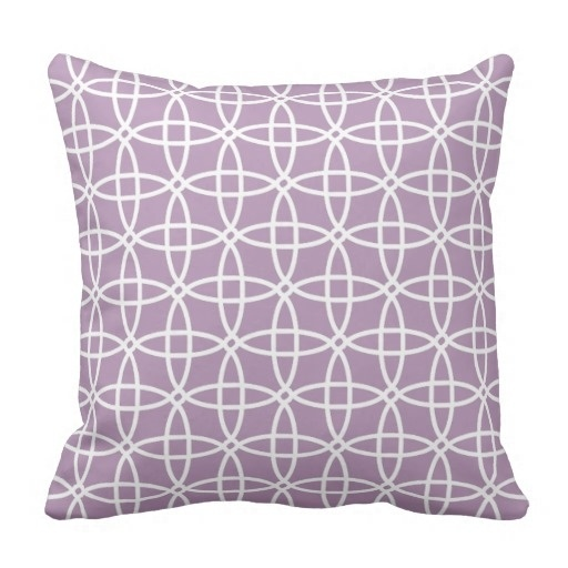 Bedside Backrest Cushion Classy Lavender Violet Purple Retro Circle Pattern Throw Pillow Case (Size: 20
