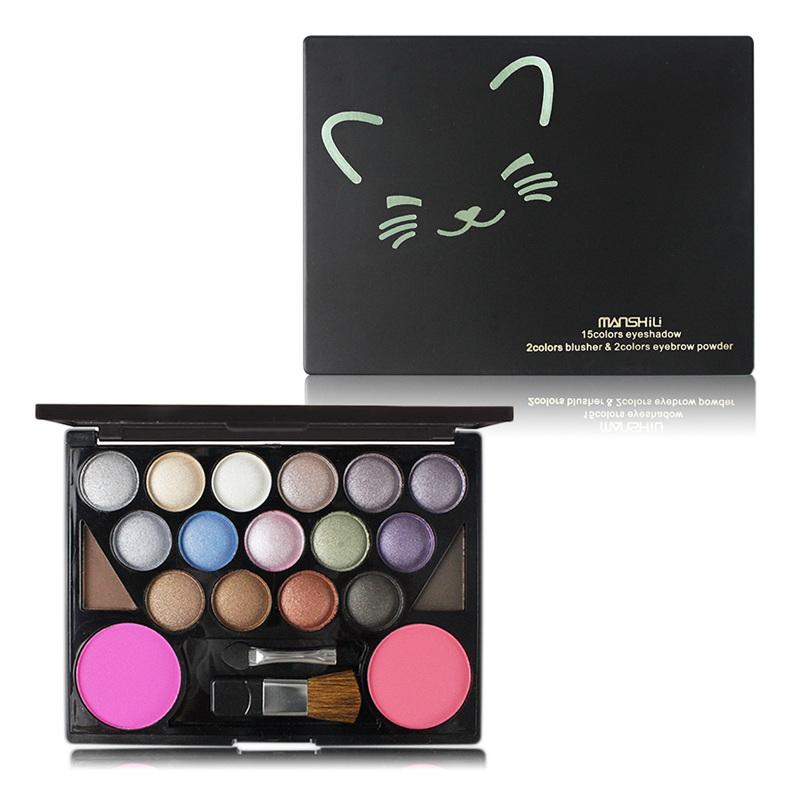 Brand Makeup Set 15 Color Eyeshadow 2 Color Blush 2 Color Eyebrow Powder Long Lasting Waterproof Powder Makeup
