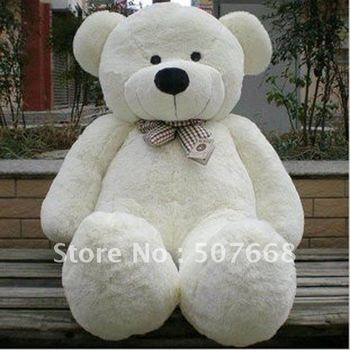 "Teddy Bear Stuffed Animal Toys Plush Toys Soft Toys 200CM White & Brown Huge 79"" fre shipping"