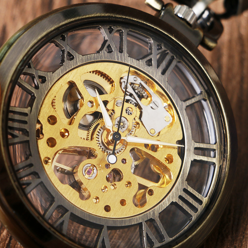 Gift Antique Style Open Face Hollow Roman Numbers Bronze Pocket Watch Fob Vintage Pendant Unisex Mechanical Hand Wind Steampunk