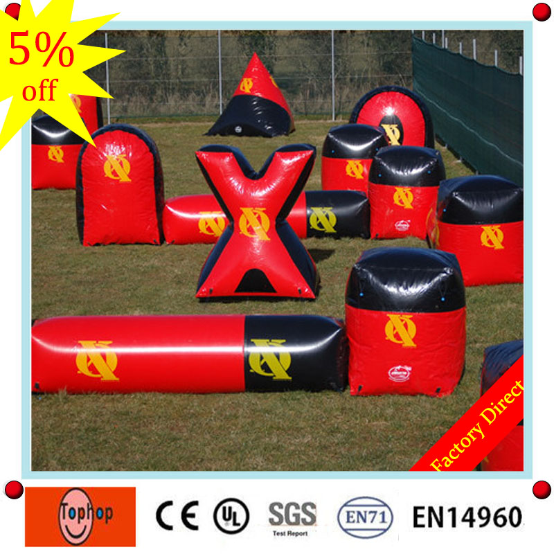 2017 pvc tarpaulin inflatable paintball barrier,inflatable air bunker,inflatable paintball air field for sale(China (Mainland))