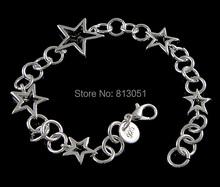 Free shipping Jewelry Bracelet Kawaii Brass Star real silver plated nickel lead cadmium free 21x18mm 16x13mm