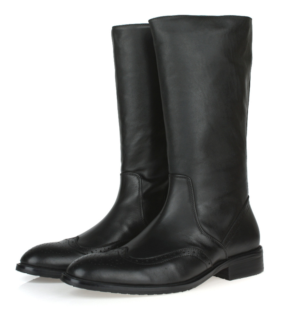 2015 high quality knee high black mens boots genuine