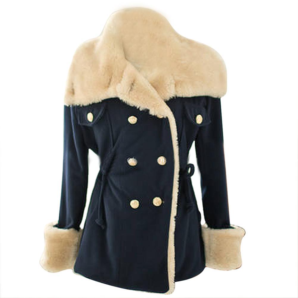 Пальто, осень женщин приталенный шерсть тёплый парка морской синий размер L