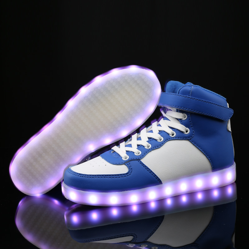 BBX Brand Children LED Shoes Boys Girls Light-up Shoes High-top Sneakers 3 Color Light Kids Shoes With Enfant Child Sport Shoes(China (Mainland))
