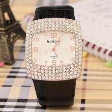 2015 caliente nueva moda piel cristal del Rhinestone relojes mujer vestido de la belleza reloj del cuarzo envío gratis