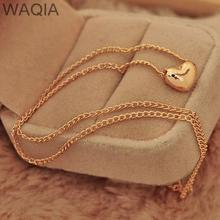 Pretty Gold Plated Heart Womens Bib Statement Chain Jewelry Necklace Good quality romantic heart pendant necklace