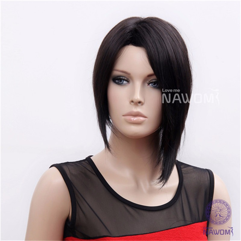 Unique Bob Style 100% KANEKALON Synthetic Firber Heat-Resistant Middle Parted Black Color Straight Women Styling Short Full Wig<br><br>Aliexpress