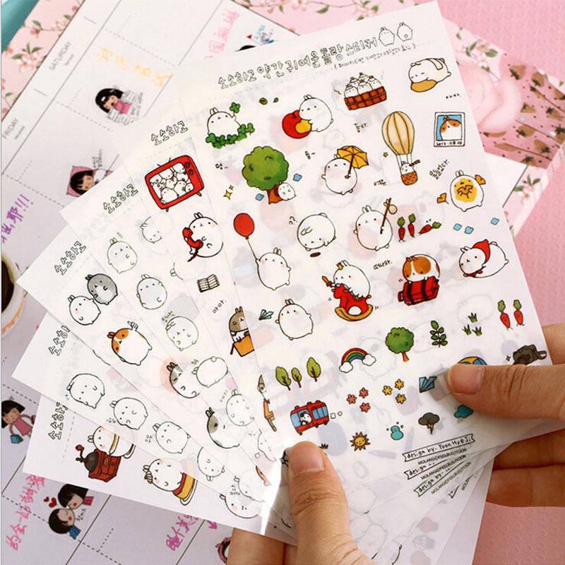 12 pcs/lot cute rabbit PVC paper sticker diy decoration sticky album diary scrapbooking toys for kids post it(China (Mainland))