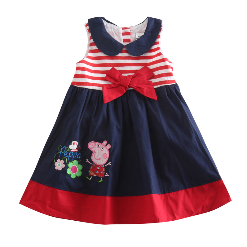 5pcs/lot 18m/5y sleeveless Bow cute striped peter pan collar baby girl dress fashion embroidery girls princess dresses summer<br><br>Aliexpress