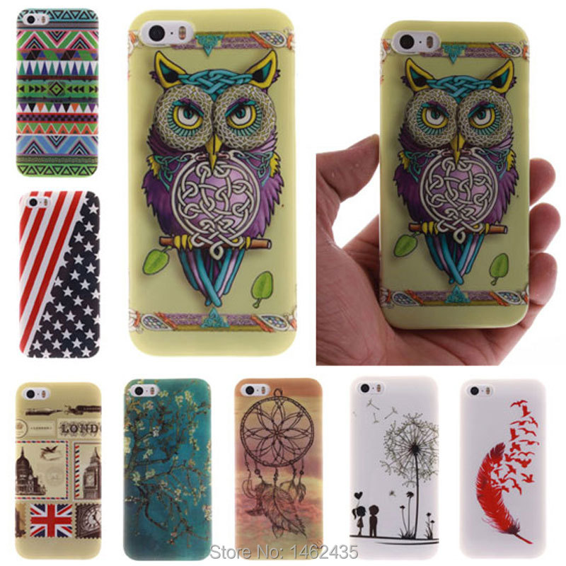 Fashion Owl Flag TPU Silicone Soft Case For Apple iPhone 5 5S 5G Back Skin Cover Cell Phone Protect Shock Proof(China (Mainland))