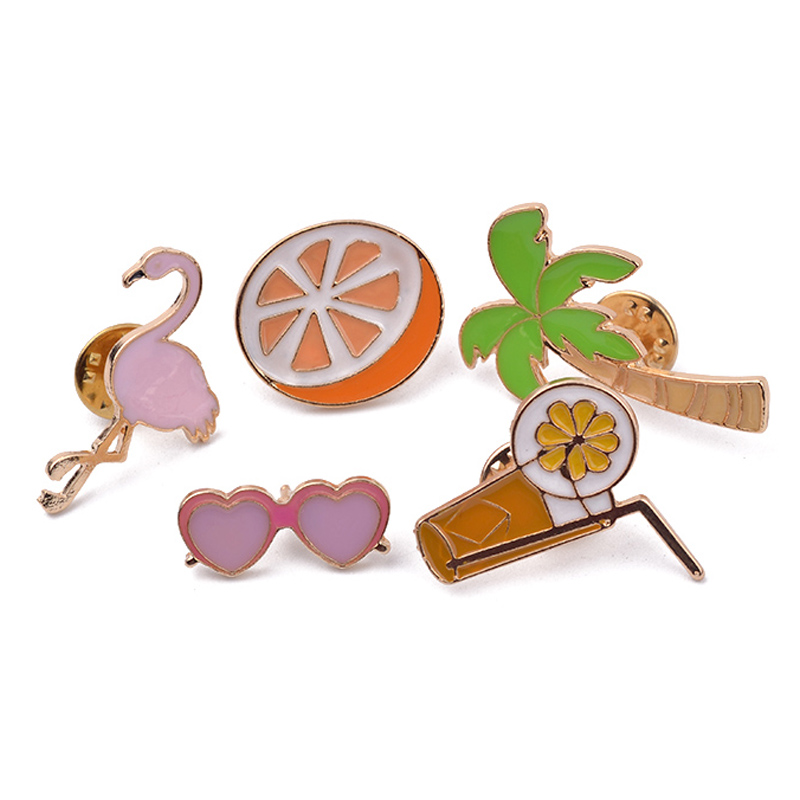 Colorful Enamel Brooch Pins Set Cute Orange Juice Coconut Tree Crane Brooch Set Women Jewelry Party Badge Collar Broches Women(China (Mainland))