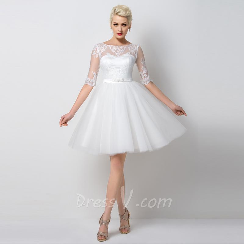 White Cocktail Dresses For Weddings - Missy Dress
