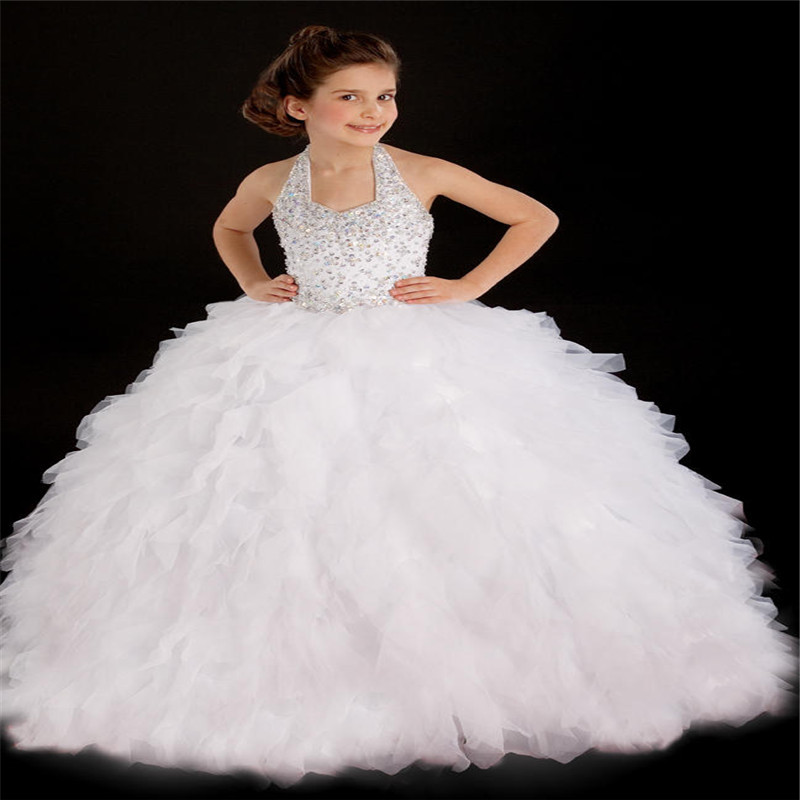 Halter 2016 White Holy Communion Ball Gowns Beading Little Girls Pageant Flower Girl Kids Party Dresses(China (Mainland))