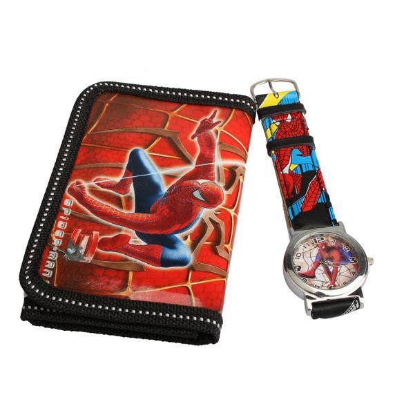 Cartoon Watches Spider Man Series Quartz Watch With Purse Lovely Red Great Gift For Kids children