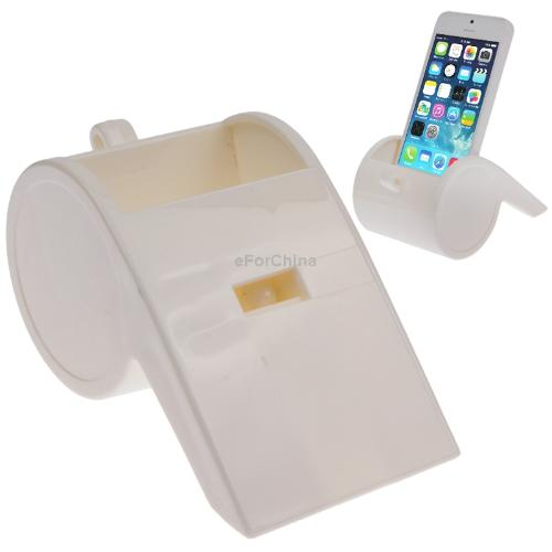 Fashion Mobile Phone Stand Holder Creative Whistle Shape Phone Holder for iPhone 5 /5S/ 5C / iPhone 4/4S Free Shipping(White)(China (Mainland))
