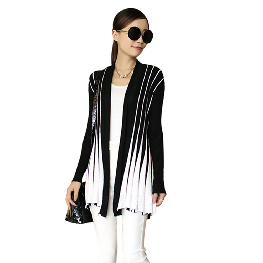 Women Knitted Sweater Open Front Stripe Long Cardigan Slim Casual Cardigan Women Outerwear Knitwear Black/Rose(China (Mainland))