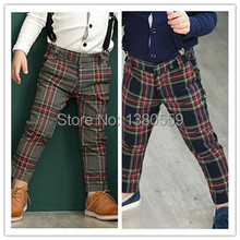 Free Shipping Hot Sale Boys Plaid Pants Cotton Long Length Children Casual Trousers Kids Winter Pants With Shoulder Girdle(China (Mainland))