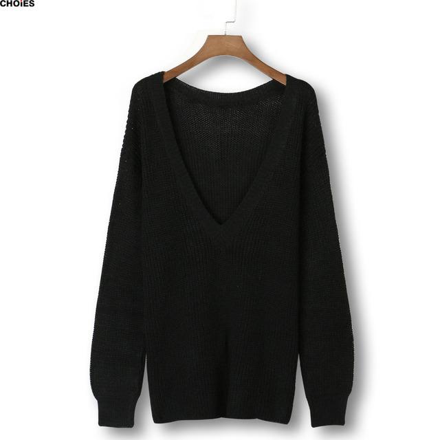 Женщины черный шею с длинным рукавом спинки вязаный свитер весна осень новинка бренд ...