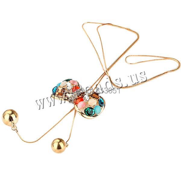 Free shipping!!!Zinc Alloy Sweater Chain Necklace,fantasies for womens, with Cats Eye &amp; Resin, Bowknot, gold color plated<br><br>Aliexpress