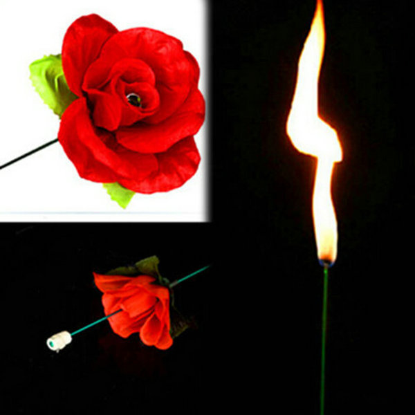 Stage Property Performance Show Magic Trick Fire To Red Rose Flower Lover's Gift(China (Mainland))