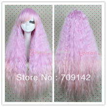 High Quality Synthetic fibre queen brazilian Kanekalon wigs 90cm long Rhapsody lavender fade to pink curly wave cosplay wig