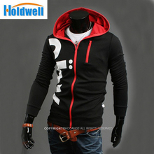 hot men's autumn and winter Fashion Slim hit the color long-sleeved hooded cardigan(China (Mainland))