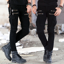 Stylish  Brand Men  Black Biker Jeans Slim Fit Stretch Pants Mens Denim Biker Jeans Skinny Pantalon Designer Army Green Jeans(China (Mainland))
