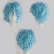100% Fashion Short Synthetic Wig Cute Curly Hair Tail Boys Girls Sexy Cosplay Anime Party Full Head Wigs New Dress Light Blue(China (Mainland))