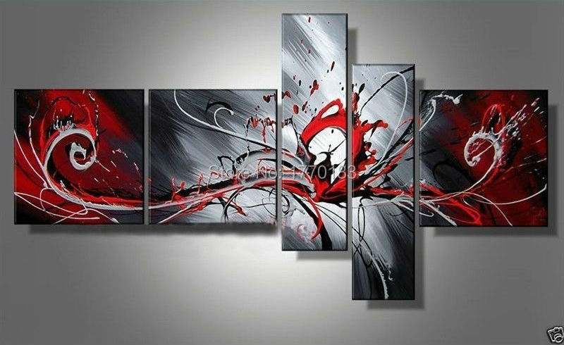 Handmade modern abstract peacock painting on canvas 5 piece wall art pictures black white and red paintings home decor bedroom(China (Mainland))