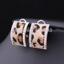 Wholesale New Jewelry 18K Gold Plated Rhinestone Horse Hair Leopard Print Stud Earrings For Winter High Quality E230(China (Mainland))