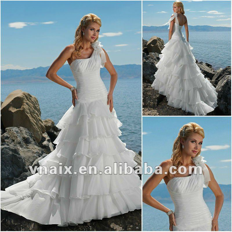 New gownw0239 ruffled one shoulder casual organza mother for Mother of the bride dresses casual wedding