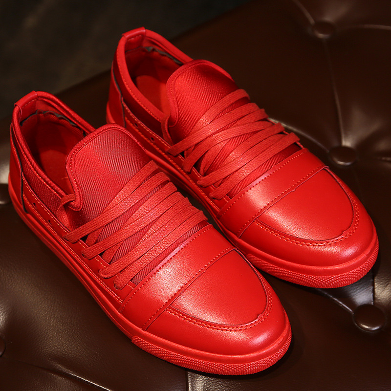 Фотография 2016 spring men red bottoms shoes flat fashionable men causal black white  board  big size  men lace up shoes