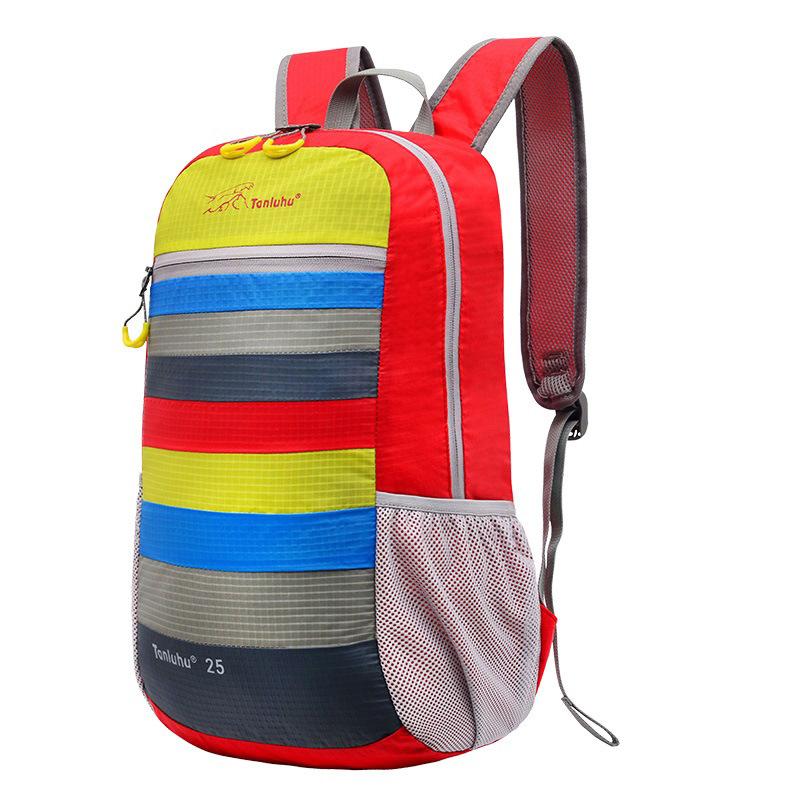 25L printing folding Women's backpack Multicolor stripe fashion mochila lightweight travel girls Waterproof Beach backpack(China (Mainland))