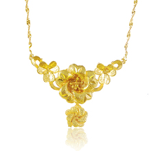 Free Shipping 24K Yellow Gold Plated Flower Chokers Necklace for Women High Quality Elegant Bridal Jewelry 24KN-100(China (Mainland))